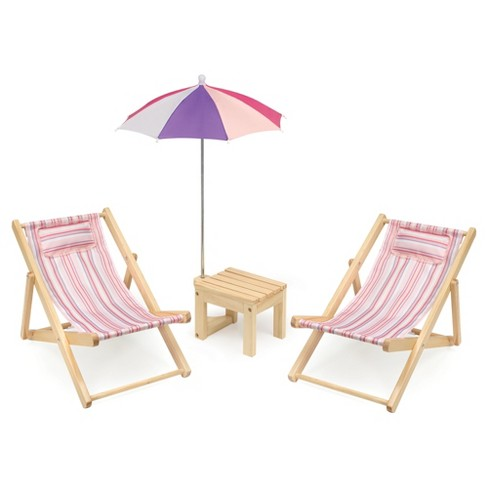 Badger Basket Two Doll Beach Chair Set With Table And Umbrella Summer Stripes