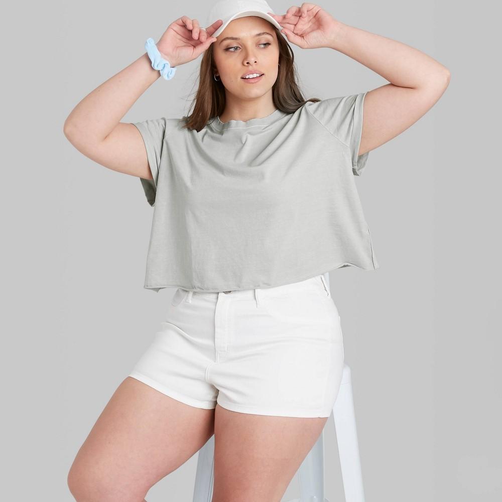 Women 39 S Plus Size Short Sleeve Roll Cuff T Shirt Wild Fable 8482 Gray 3x