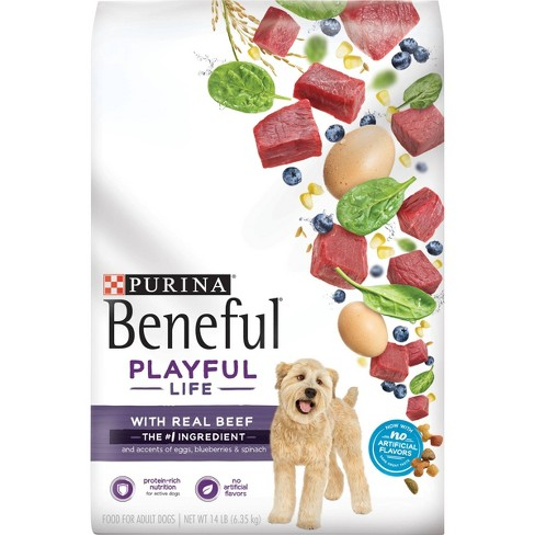 Purina Beneful Dry Dog Food Playful Life With Real Beef Accented With Egg Blueberries & Spinach Adult Dog Food - 14lb Bag - image 1 of 4