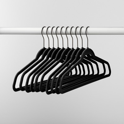 10pk Non Slip Velvet Hanger Black - Made By Design™