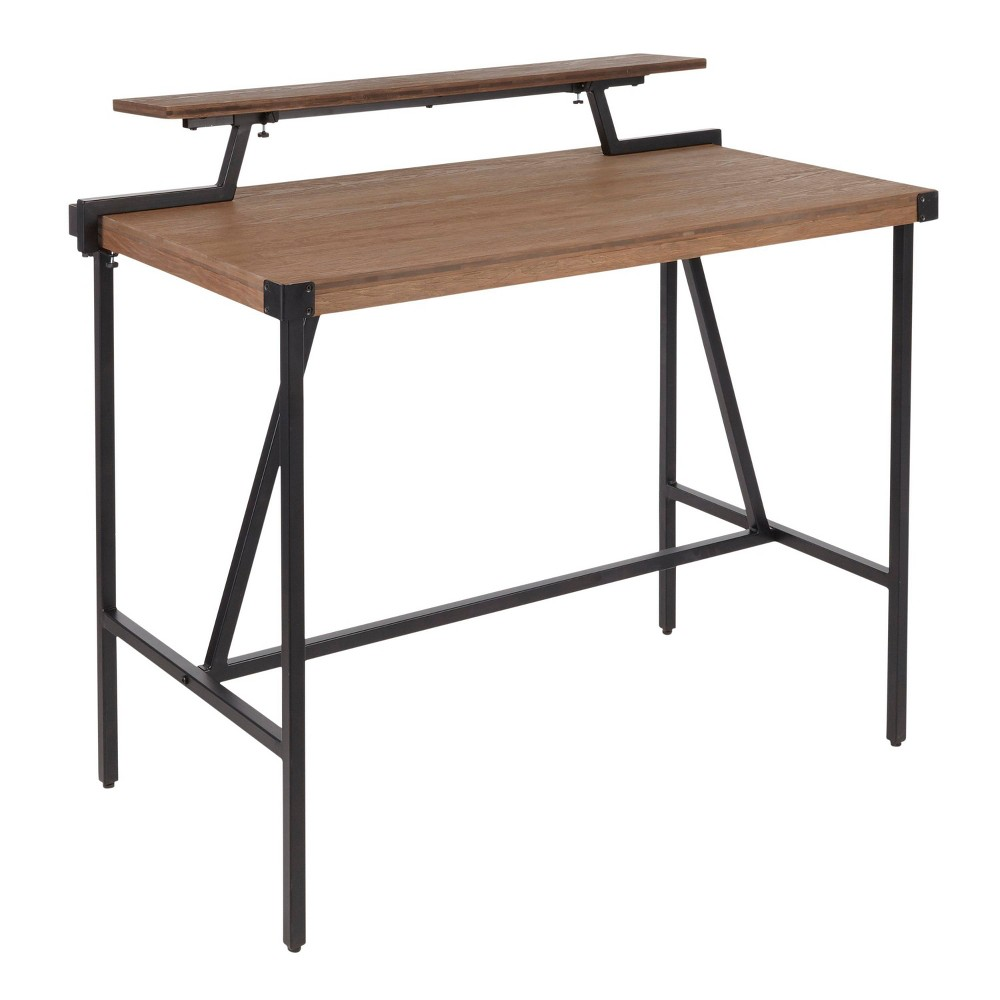 Gia Industrial Counter Table Black/Brown - Lumisource