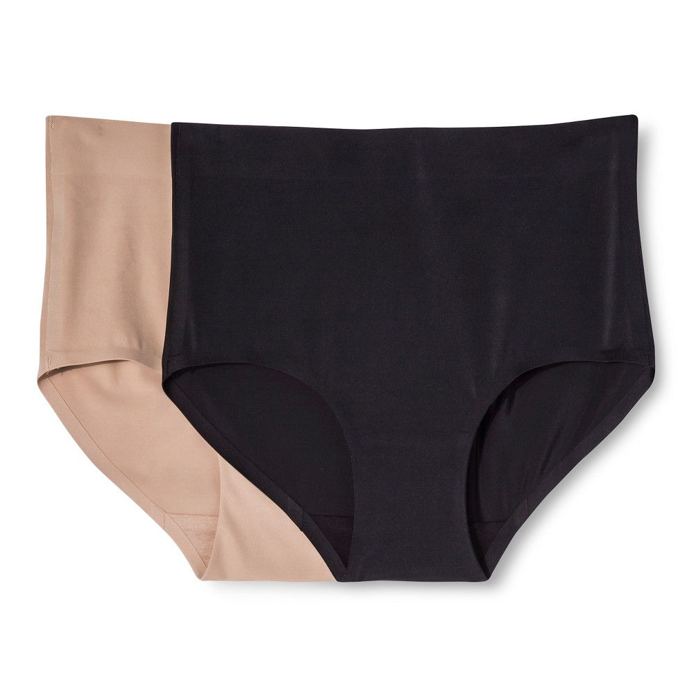 Simply Perfect by Warner's Women's Control Briefs 2 Pack - Black M, Black/Nude