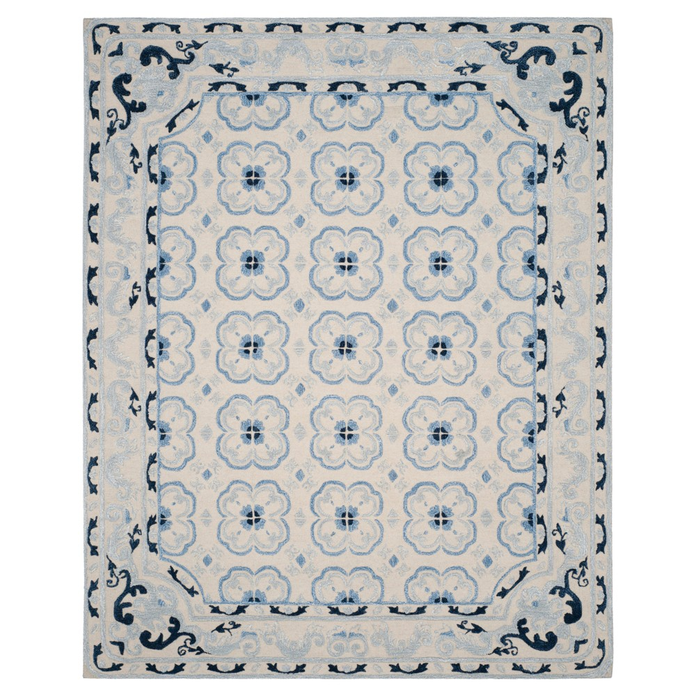 Ivory/Blue Floral Tufted Area Rug 8'X10' - Safavieh, White