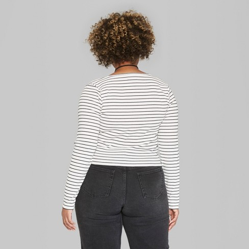 5b0efe4fb86 Women s Plus Size Long Sleeve Striped Henley T-Shirt - Wild Fable™ Black  White   Target