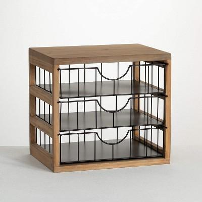 """Sullivans Triple Drawer File Holder Storage Organizer 12.5""""H Brown"""
