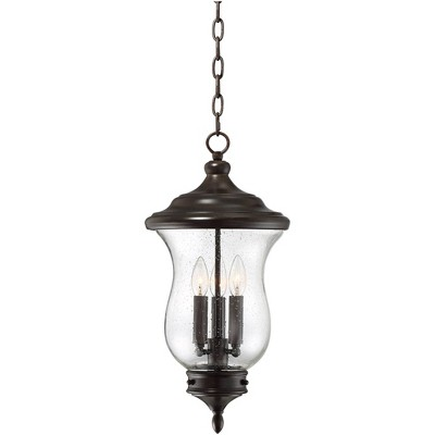 """Franklin Iron Works Outdoor Ceiling Light Hanging LED Dimmable Bronze 22"""" Clear Seedy Glass for Exterior House Porch Patio"""