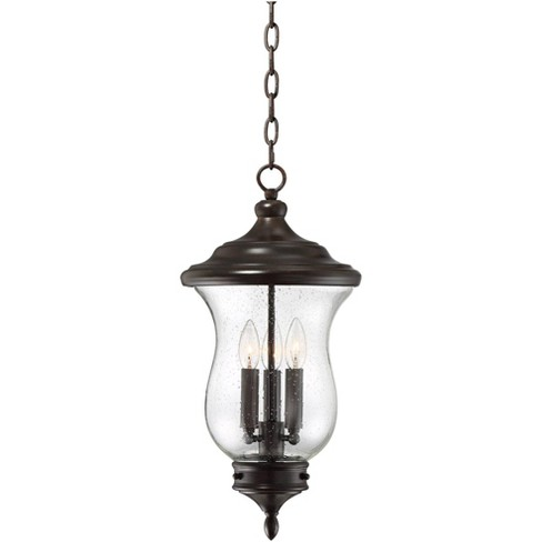 """Franklin Iron Works Outdoor Ceiling Light Hanging LED Dimmable Bronze 22"""" Clear Seedy Glass for Exterior House Porch Patio - image 1 of 4"""
