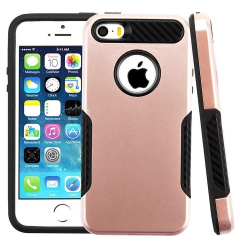 ASMYNA For Apple iPhone 5/5S/SE Rose Gold Black Hard TPU Hybrid Plastic Case Cover - image 1 of 2