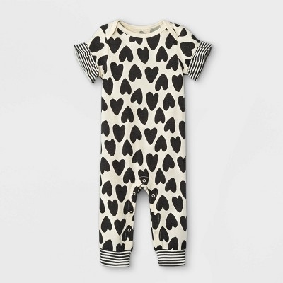 Baby Girls' Heart Romper - Cat & Jack™ Cream 0-3M