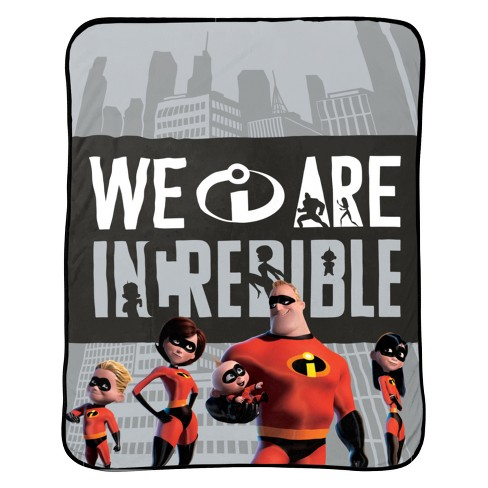 "Incredibles 2 Single 46""x60"" We are Incredible Throw Blanket Gray - image 1 of 1"