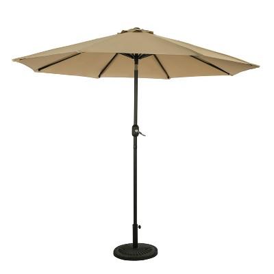 9' Mirage II Market Patio Umbrella with Auto-Tilt Champagne - Island Umbrella