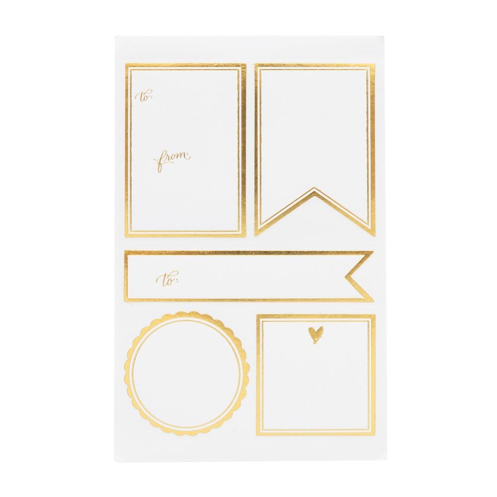 White + Gold Sticker Label Set, 10ct - sugar paper, Natural White White + Gold Sticker Label Set, 10ct - sugar paper Color: Natural White. Pattern: Solid.