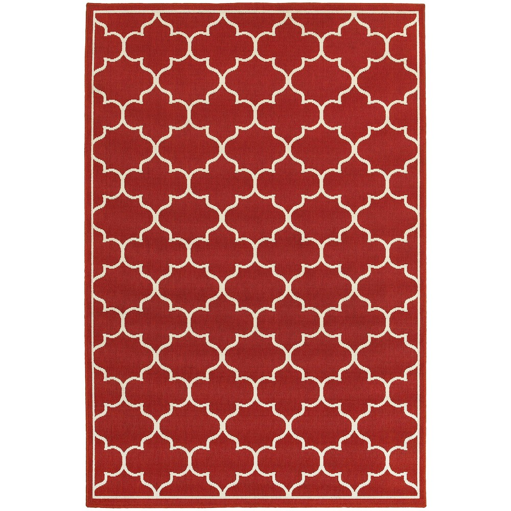 Marlowe Lattice Patio Rug Red/Ivory