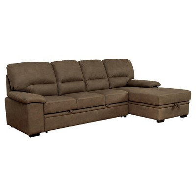 MiBasics Samson Modern Style Pullout Sleeper Sofa Brown