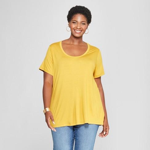 48d45b29229 Women s Plus Size Perfect Short Sleeve T-Shirt - Ava   Viv™ Gold 2X ...