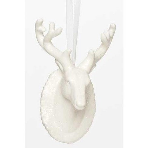 """Roman 4.75"""" Snowy Winter Lodge Style Glittered Reindeer Head Porcelain Christmas Ornament - White - image 1 of 1"""