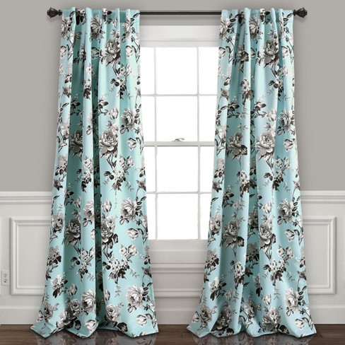 Tania Fl Room Darkening Window Curtain Panels Blue Gray Set 52 X84 Lush Decor Target