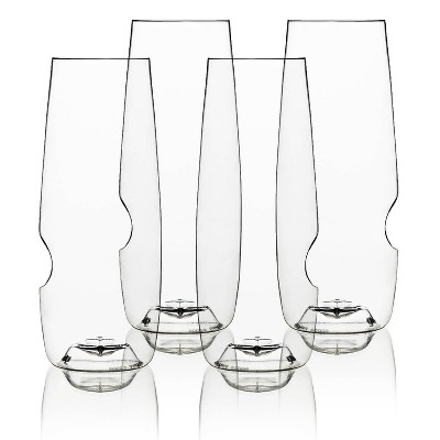 GoVino 8oz 4pk Plastic Champagne Flute Glasses