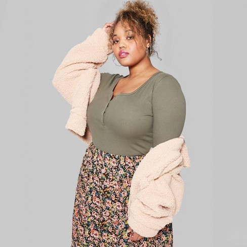 Women's Plus Size Long Sleeve Henley T-Shirt - Wild Fable™ Olive - image 1 of 3