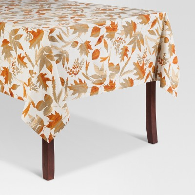 White Printed Leaf Tablecloth (60 x 84 )- Threshold™