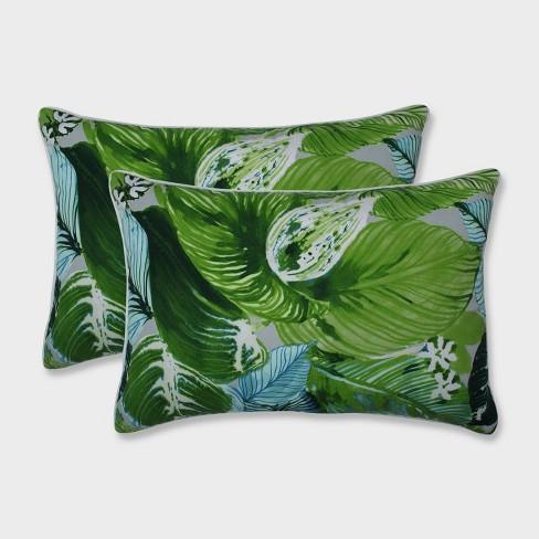 2pk Oversize Lush Leaf Jungle Rectangular Throw Pillows Green - Pillow Perfect - image 1 of 2