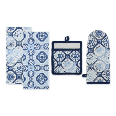 4pc Cotton Pot Holder and Dishtowel Set Blue - Design Imports