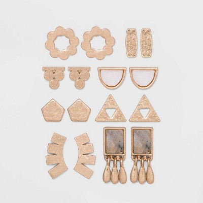 Mixed Geometric Shape Semi-Precious Earring Set 8pc - Universal Thread™