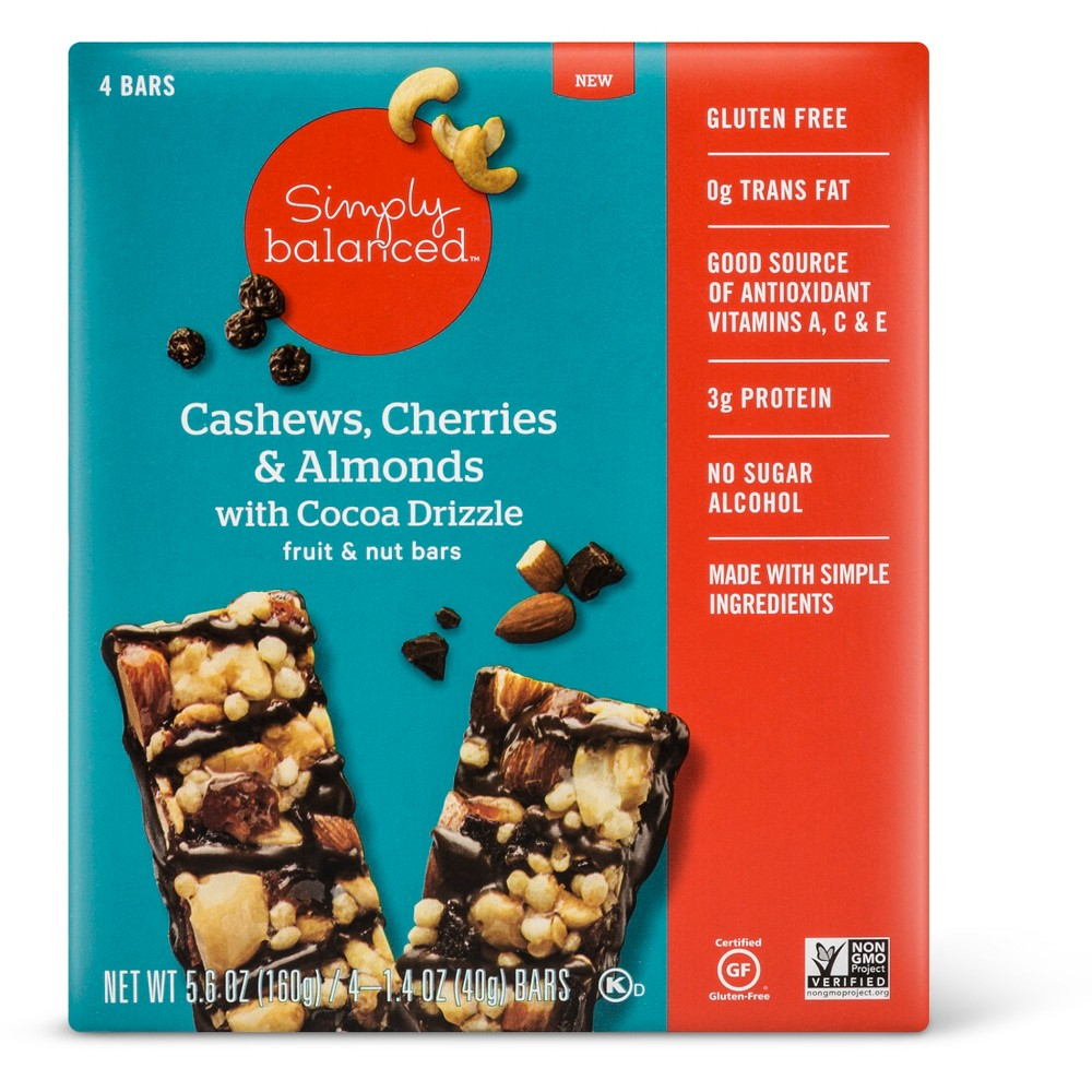 Cashews, Cherries & Almonds with Cocoa Drizzle Fruit & Nut Bars - 4ct - Simply Balanced