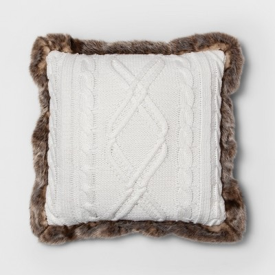 Knit With Faux Fur Reverse & Brown Fur Trim Square Throw Pillow Cream - Threshold™
