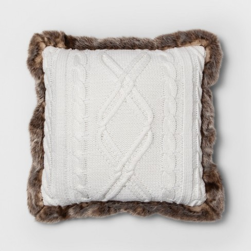 Wondrous Knit With Faux Fur Reverse Brown Fur Trim Square Throw Pillow Cream Threshold Theyellowbook Wood Chair Design Ideas Theyellowbookinfo