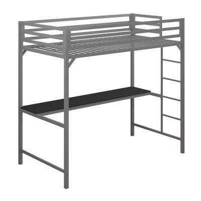 Twin Max Metal Loft Bed with Desk Silver - Room & Joy
