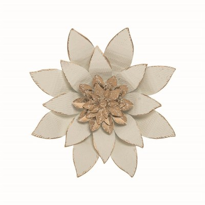10.7 x 10.3  inch White Metal Layered Lotus Flower Wall Décor - Foreside Home & Garden