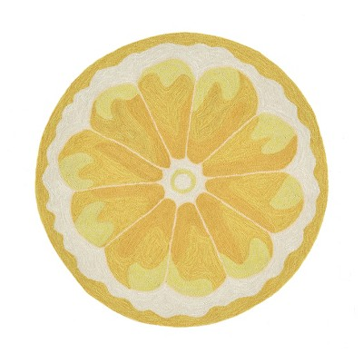 Yellow Lemon Slice Kitchen Rug (3' Round)- Liora Manne