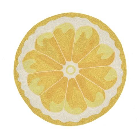 yellow lemon slice kitchen rug 24 x36 1 2 round liora manne
