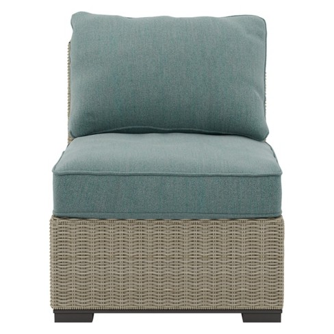 Silent Brook Armless Chair With Cushion Beige Outdoor By Ashley