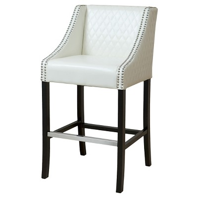 """28"""" Milano Quilted Bonded Leather Barstool - Ivory Christopher Knight Home"""