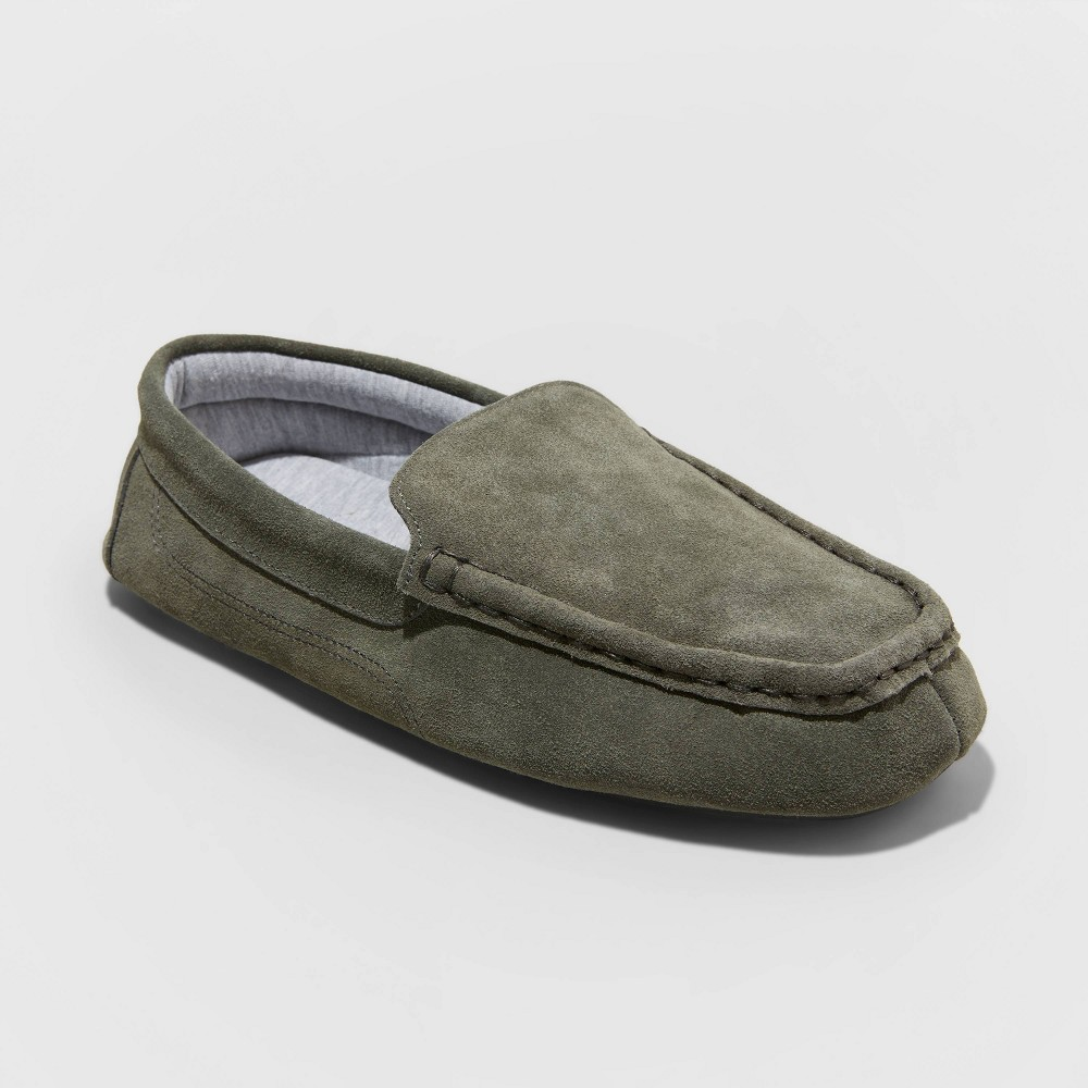 Image of Men's Carlo Suede Moccasin Slippers - Goodfellow & Co Gray 10, Men's