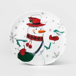 "11"" Melamine Snowman Dinner Plate White - Wondershop™"