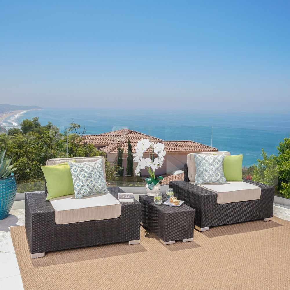 Marbellla 3pc Wicker Club Chair Set with Sunbrella Fabric - Dark Brown/Sand (Dark Brown/Brown) - Christopher Knight Home