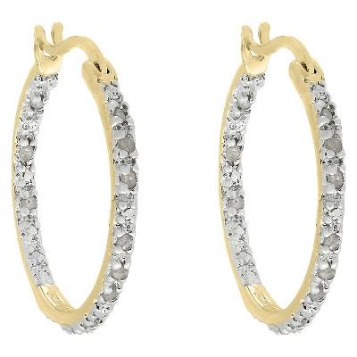 1/4 CT. T.W. Diamond Hoop Earrings in Gold over Sterling Silver (IJ-I2-I3)