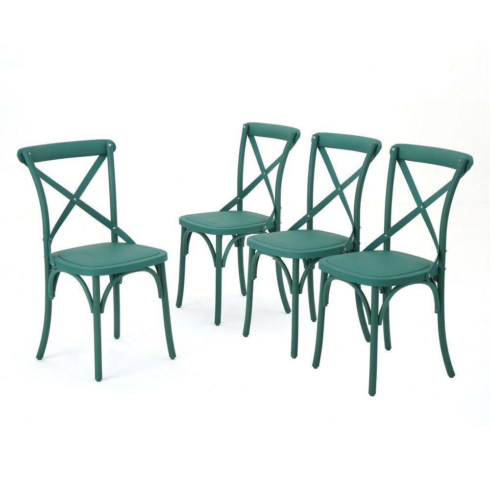 Danish 4pk Plastic Nylon Dining Chairs - Magnolia Green - Christopher Knight Home