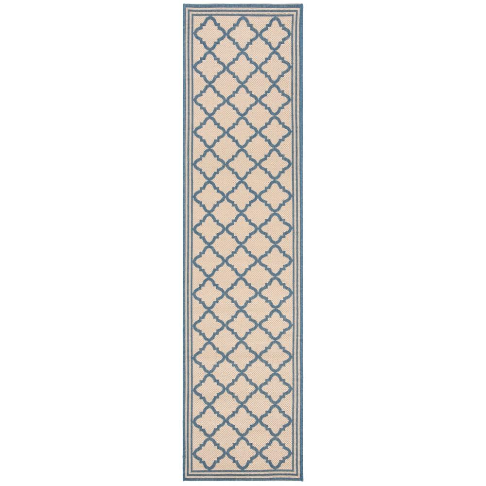 2'X8' Quatrefoil Design Loomed Runner Cream/Blue (Ivory/Blue) - Safavieh