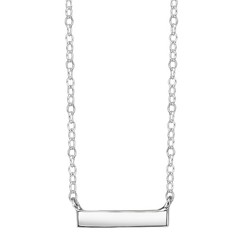 "Sterling Silver Station Necklace Bar - Silver (18.5"") - image 1 of 1"
