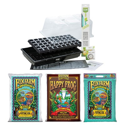 SunBlaster Home Seedling Propagation Kit with T5 Light, and Ocean Forest & Happy Frog Potting Soil Mix