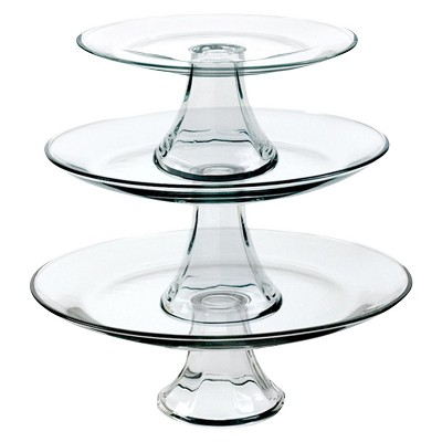 Anchor Hocking 3pc Glass Tiered Pedestal Serving Plates