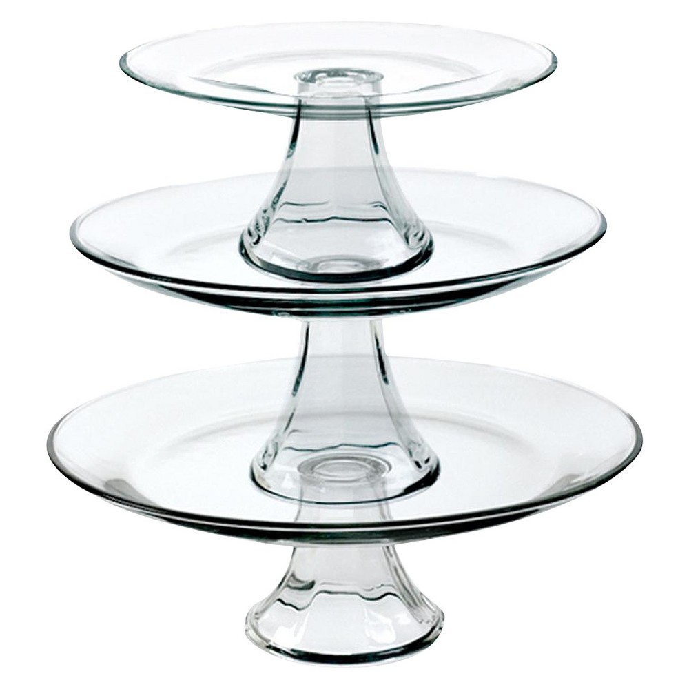 Image of Anchor Hocking 3pc Glass Tiered Pedestal Serving Plates