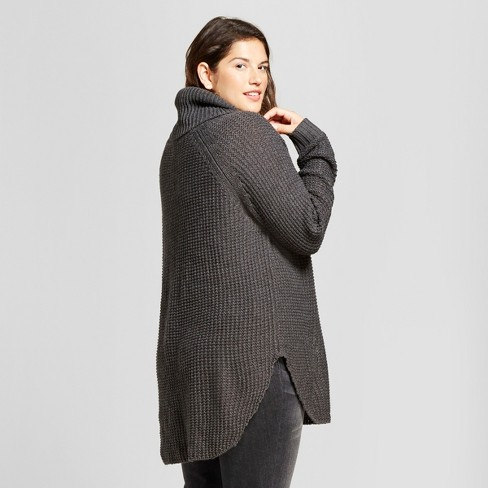 54920eb121e Women s Plus Size Chunky Cowlneck Sweater - A New Day™ Charcoal 2X ...