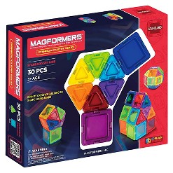 Magformers Solids Clear Rainbow 30 PC Set