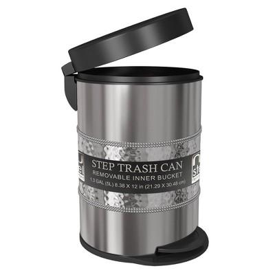 5L Round Metal Step Trash Can Wastebasket Matte Steel - Nu Steel