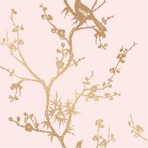 Tempaper Bird Watching Self Adhesive Removable Wallpaper Pink Gold Target